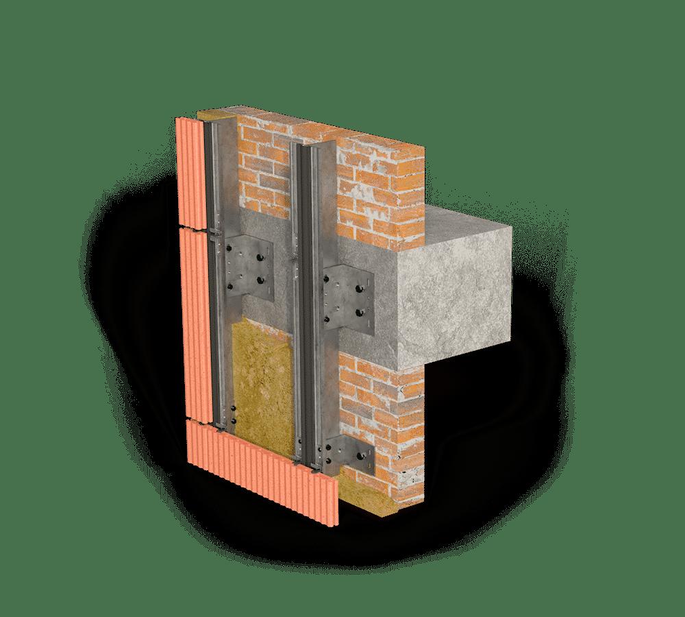 Вертикальное крепление терракотовых панелей